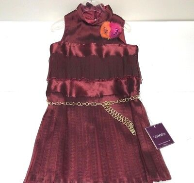 Val & Max New Girls Kids PLEATED DRESS W/ GOLD LINK BELT Sz: 10 RTL: $450 P905