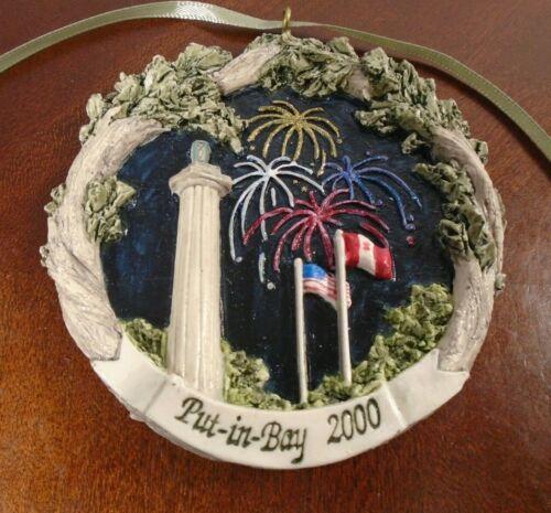 Rare Put-in-Bay 2000 Commemorative Ceramic Wall Ornament w/box - Perry