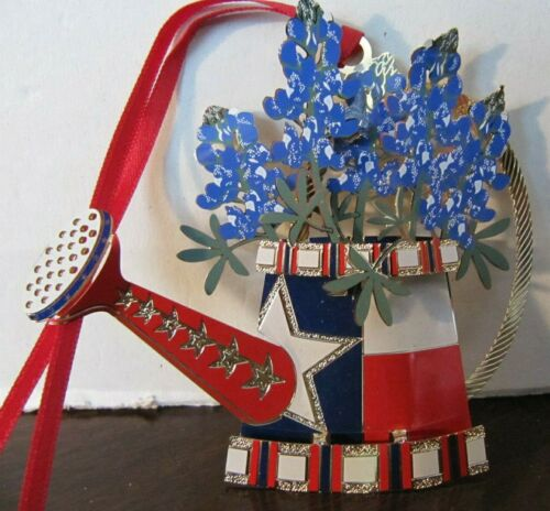 Texas in Bloom Bluebonnets 3D Metal Christmas Ornament Texas Star Watering Can