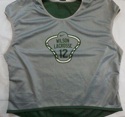 Nike Wilson Lacrosse Reversible Jersey Size Large Unisex Green Gray White #12