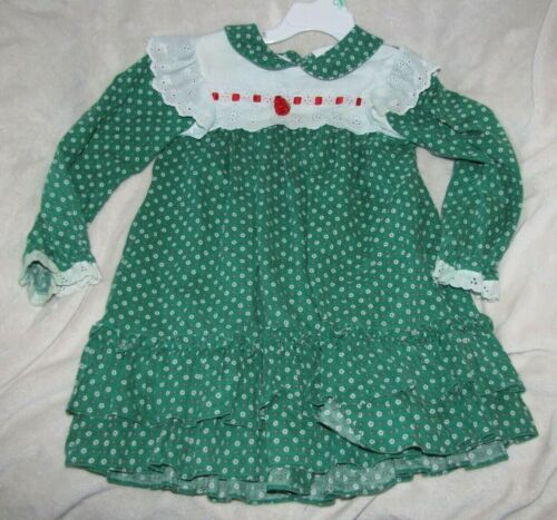Vintage Bryan 4 Toddler Children Kid Girl Christmas Dress Lace Ruffles USA Green