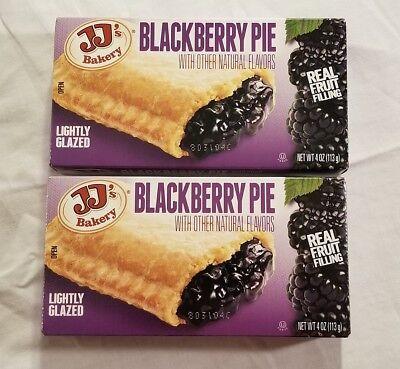 2 Jjs Bakery Lightly Glazed Blackberry Pies 4Oz Yummy Fruit Pie Snack Dessert