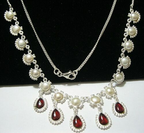 Sterling Silver Natural GARNET & Real Pearl Gem Stone Statement Drop Necklace