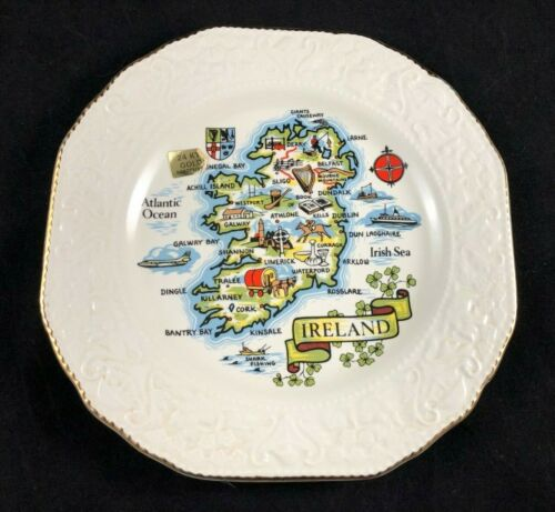 """Vintage Carrigcraft Carrigaline Pottery County Cork Ireland Map Gold Edged 8.5"""""""