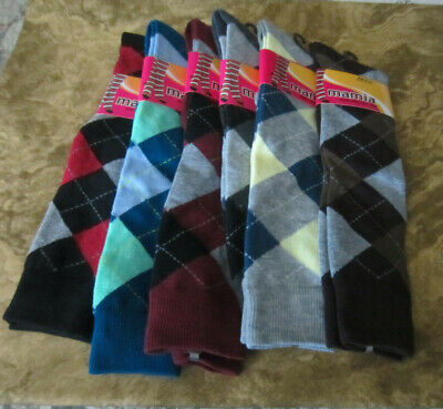 LADIES ARGYLE SOCKS KNEE HIGH DIFFERENT COLORS TO CHOOSE FROM 9-11 Colored Knee High Socks