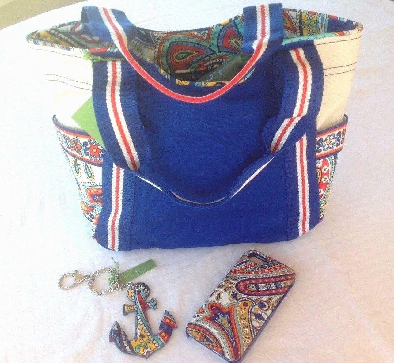 Vera Bradley MARINA PAISLEY CANVAS BEACH TOTE BAG PACKAGE +C