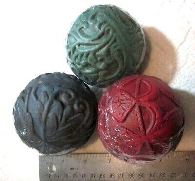 "NEW 3-Count Colorful Metal Sphere Garden Ornaments 3"" Globe Balls Outdoor Decor"