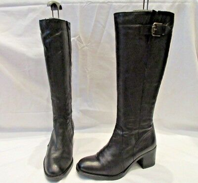 a9f239bb527 CLARKS MASCARPONE ELA BLACK LEATHER HIGH CALF ZIP UP BOOTS UK 4.5 EU 37.5  (1788)