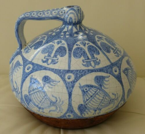 Antique Blue & White Hand Painted Crackled Mexican Pottery Leather Vessel