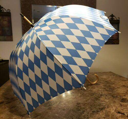 Vintage Wood Handle Walking Umbrella Blue/White Argyle Long Full Size