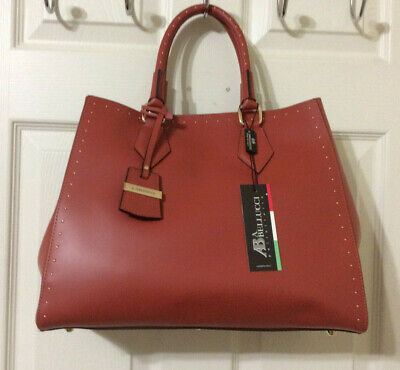 Bellucci Leather Satchel w/ Small Studs in Red-Orange and Cross Body Strap