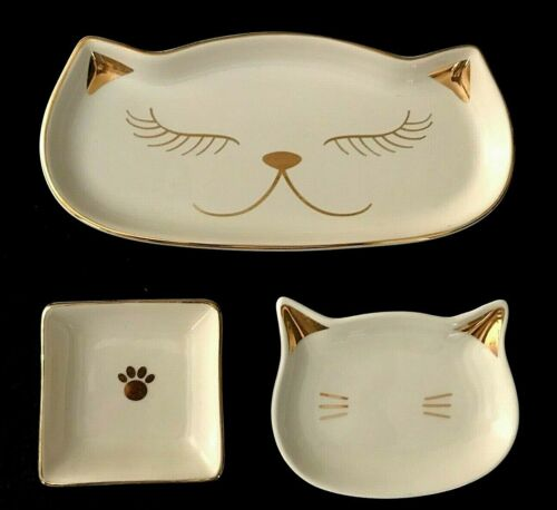 3 Cat Trinket Jewelry Dishes White Porcelain Gold Trimmed