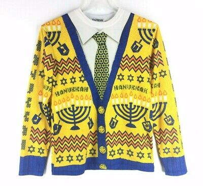 FAUX REAL Hanukkah Hebrew Celebration Sweater w/ Tie Shirt Costume Size S Small