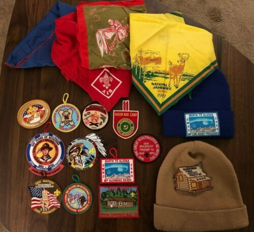 Collection of BSA  Patches Hats Kerchiefs  Boy Scouts of America