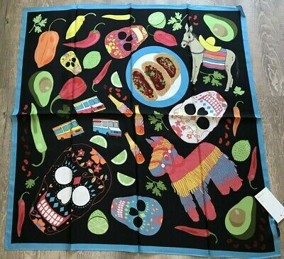 """Karen Mabon Silk Scarf Taco Nights  Mexican Skull Large 34"""" x 34"""" New With Tags"""