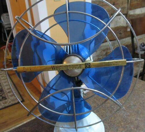 1950s Vintage AD10-1 WESTINGHOUSE Fan Mid Century Modern Blue Blades WORKS