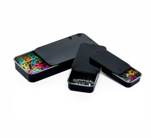 MagnaKoys®  Black rectangular tins with slider tops.