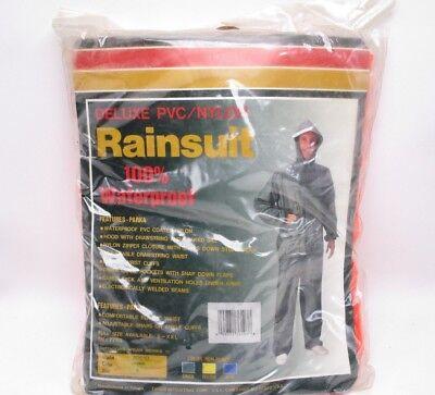 Deluxe Rainsuit (Deluxe PVC Nylon Rain Suit Waterproof Parka And Pants Size S Orange New)
