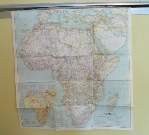 """Vintage Africa Map 1935 National Geographic Folded Approx 29 x 31.5""""  #4928"""