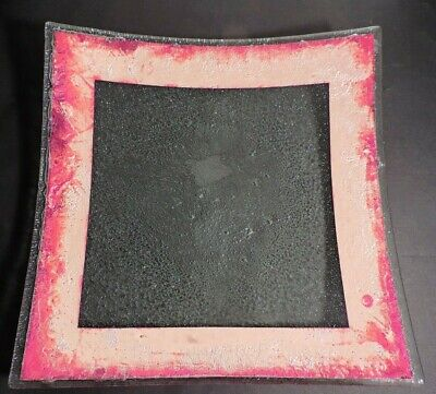 JONES GLASSWORKS platter / plate with FUSED COPPER BORDER  (MINT) Copper Glass Platter