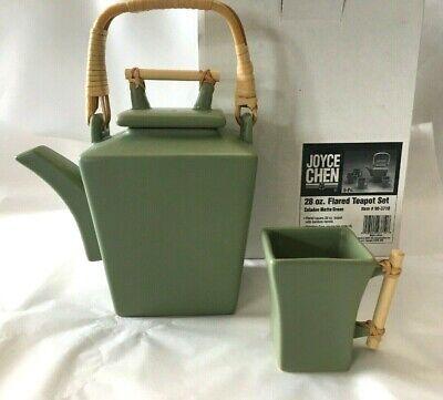 Joyce Chen Ceramic Flared 28oz Teapot & 4 Square Teacups Set Bamboo Handle Green