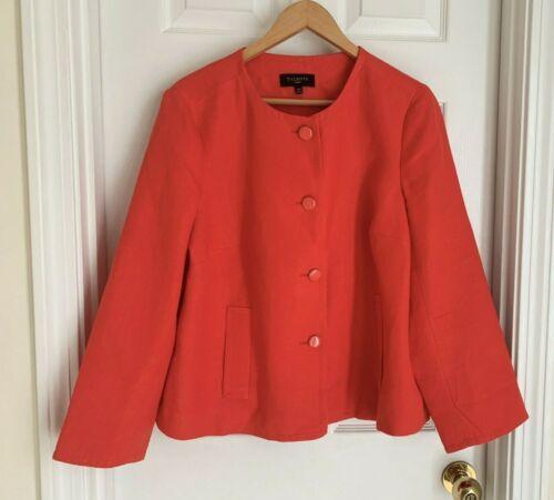 Talbots Woman linen blazer bright orange 16W jacket