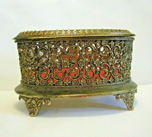 Vintage 1950s Brass Filigree Footed Oval Jewelry Box Beveled Crystal Top