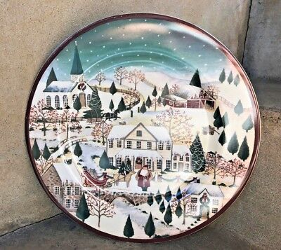 """NEW Block Gear Father Christmas Holiday Round Serving Platter 12"""""""