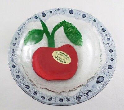 HANNA BAHRAL Fused Art Glass Dish Bowl Handmade in Jerusalem Israel- Apple- (Israel Fused Glass)