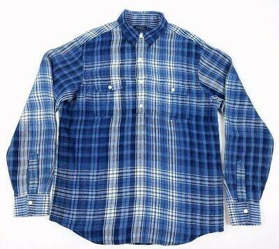POLO RALPH LAUREN Men's Large Blue Indigo Linen Long Sleeve Button Front Shirt