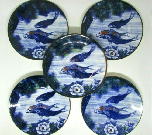 "(5) SUN CERAMICS Japanese Porcelain KOI & LOTUS Bread & Butter, Sushi Plates, 6"""
