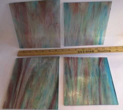 Stained Glass Wissmach Red-Blue Streaky 6.5x7 4 pieces