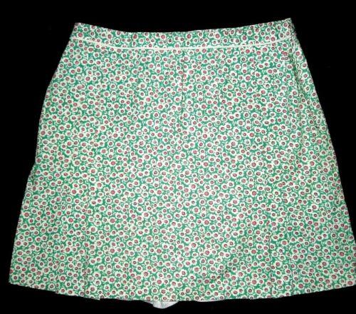 CLARE HARE DARIEN GOLF SKORT SHORTS SZ 12 GREEN PINK FLOWERS ALL COTTON LNWOT