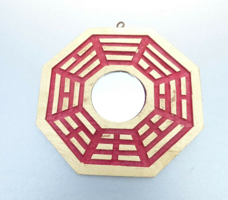 Chinese Feng Shui Good Luck Mirror Red Gold Octagon Eight Side Lucky Positive 6""