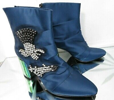 Zara Woman blue satin jewelled ankle evening special occasion boots - UK 4 EU 37 for sale  Shipping to Ireland