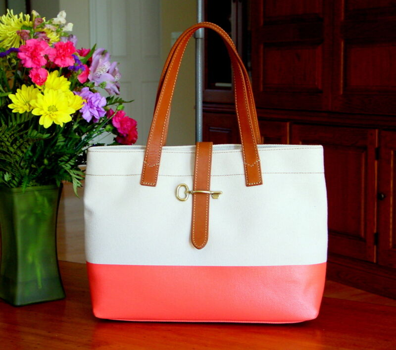 FOSSIL Austin Coated Canvas Shopper Tote in Natural & Hot Coral  NWT $148