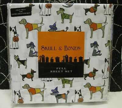 SKULL and BONES HALLOWEEN DOGS FULL BED SHEETS in COSTUMES 4 PIECE SET NEW