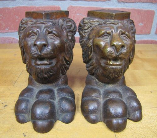 19c Bronze LION HEAD Paw Feet Exquisite Ornate Pair Architectural Hardware
