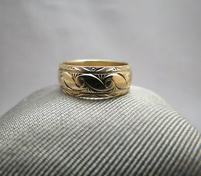14K Yellow Gold Ring Designer Frederick Goldman FG Antique Scroll Band Size 9.5 ()