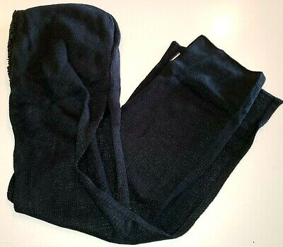 MUK LUKS womens SOLID BLACK hooded SCARF FLEECE THICK HAT 76 inches long ONE SIZ