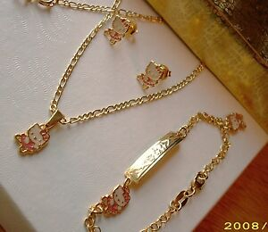 18K GF GOLD small HELLO KITTY Pink BALLERINA Necklace Earrings & Bracelet 4p Set