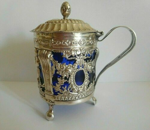 18th CENTURY FRENCH PARIS SILVER MUSTARD POT AND LINER 1789 MAKERS MARK P M M