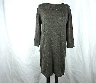 J. Jill Womens Sweater Dress Size Medium Silk Blend 3/4 Sleeves Gray Midi Shift