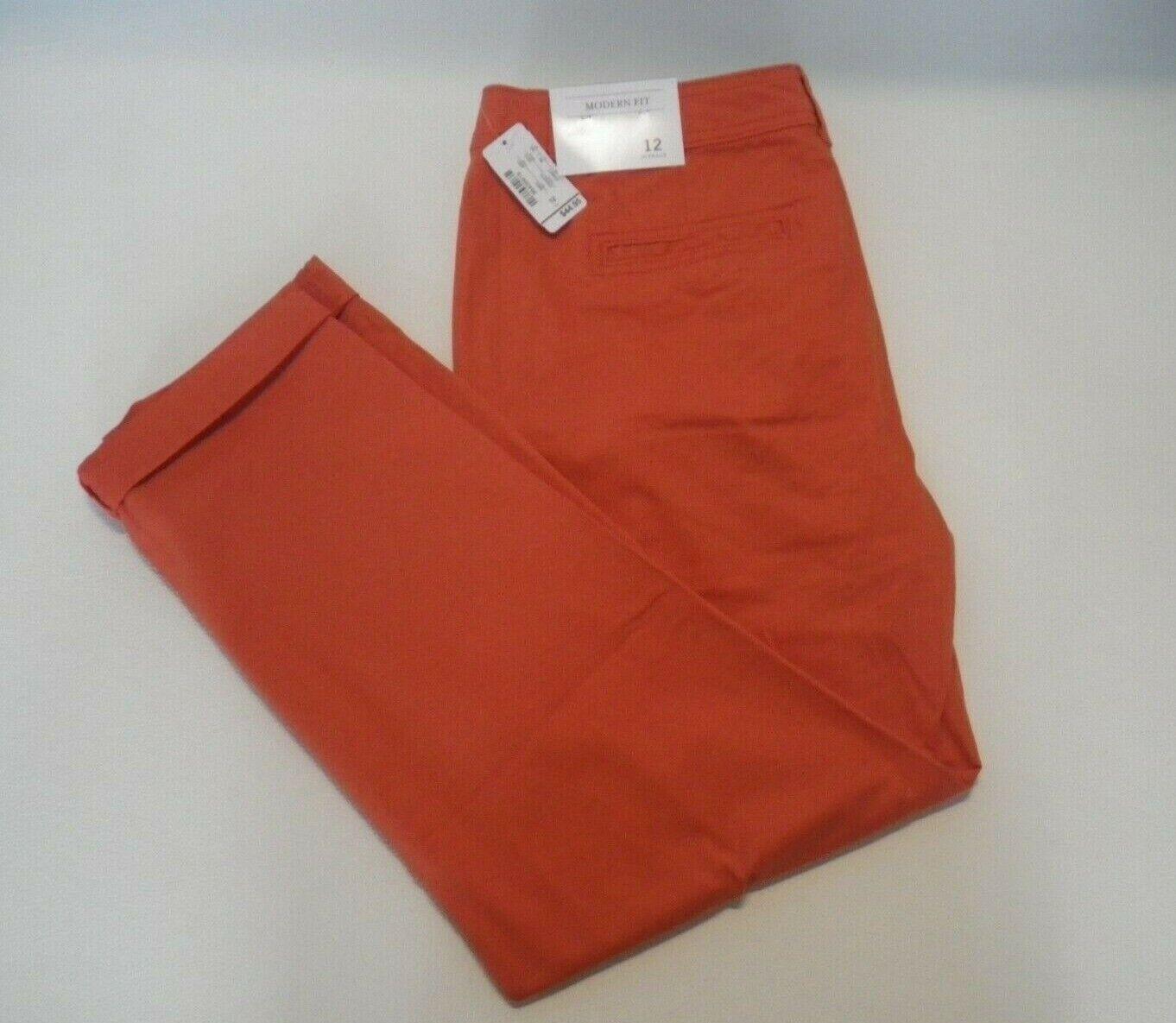 NEW Christopher & Banks Womens 12 Red Chino Khaki Pants Mode