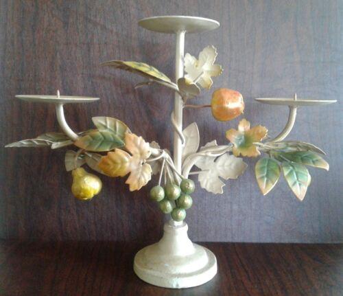 Antique Candle Holder Pillar Metal Tole Toleware CENTERPIECE Leaves Fruit .