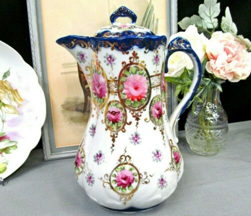 Antique Nippon chocolate pot painted floral pink rose pattern large cobalt blue