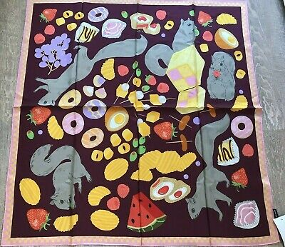 """Karen Mabon Silk Scarf Squirrels and Candy  Womens Large 34"""" x 34"""" New With Tags"""