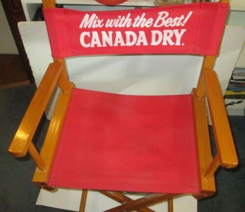 VINTAGE CANADA DRY BEVERAGES SODA MIXERS WOOD FOLDING DIRECTORS CHAIR WOODEN