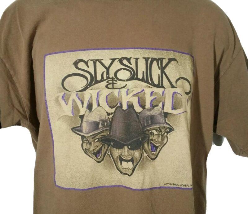 Vintage Sly Slick & Wicked Album Promo Tee T Shirt Blues Hip Hop R&B Band 2XL