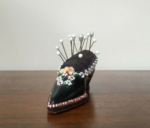 Antique Victorian Leather Beaded Shoe Pincushion